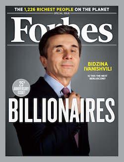 Ivanishvili, på omslaget till Forbes som en av världens rikaste.