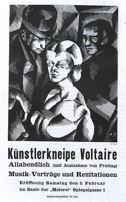Affisch från premiären för Cabaret Voltaire 1916