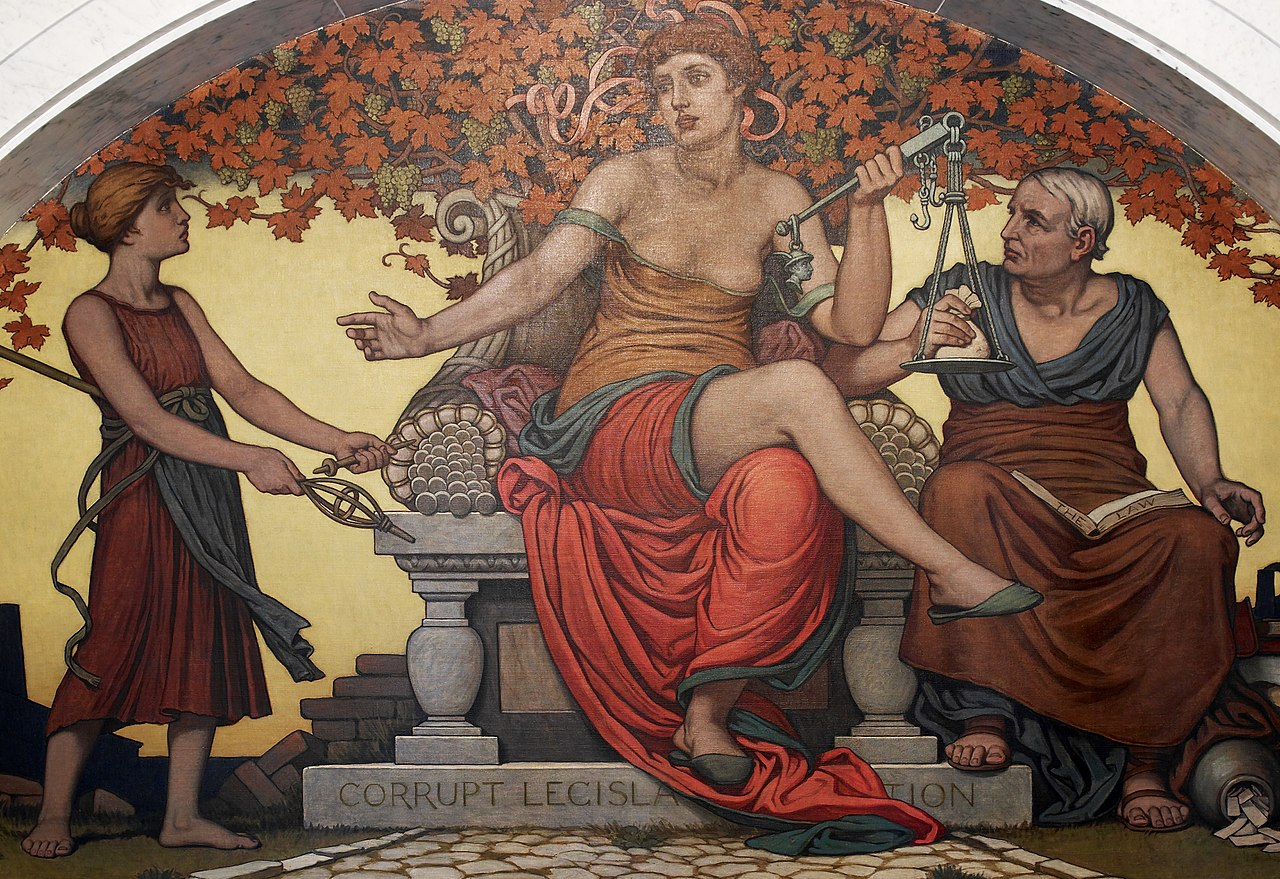 Corrupt legislation. Detalj från en muralmålning av Elihu Vedder i Library of Congress, Washington, D.C.