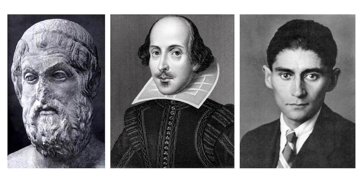 Porträtt av Sofokles, Shakespeare och Kafka Dixikon