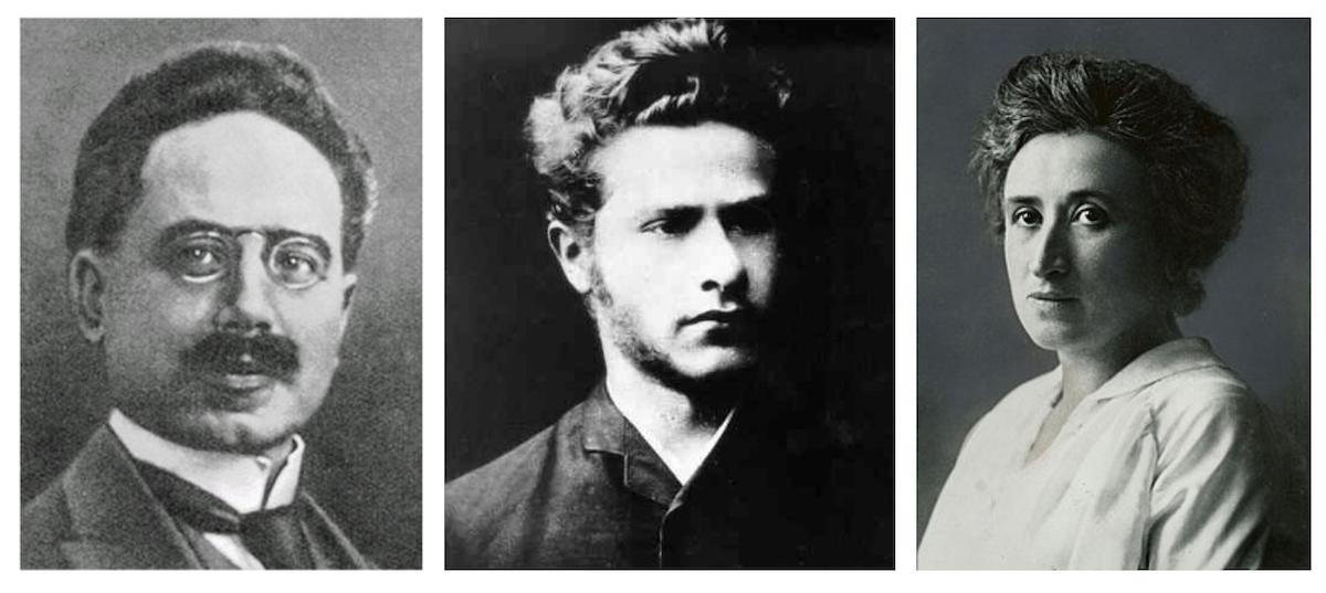 porträtt av Karl Liebknecht, Leo Jogiches och Rosa Luxemburg
