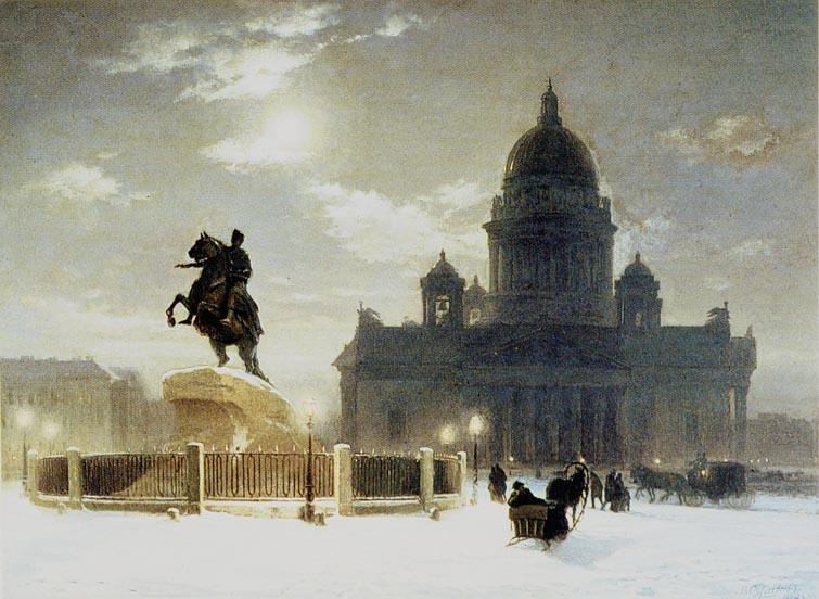 Statyn Bronsryttaren av Vasily Surikov (1848–1916) framför ISakskatedralen i Petersburg