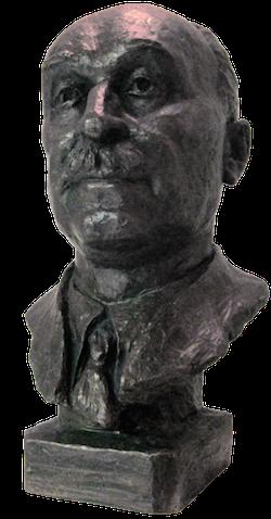 Byst av Jean Monnet i Fredspalatset i Haag