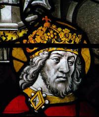 Glasmålning av Charlemagne från slutet av 1500-talet
