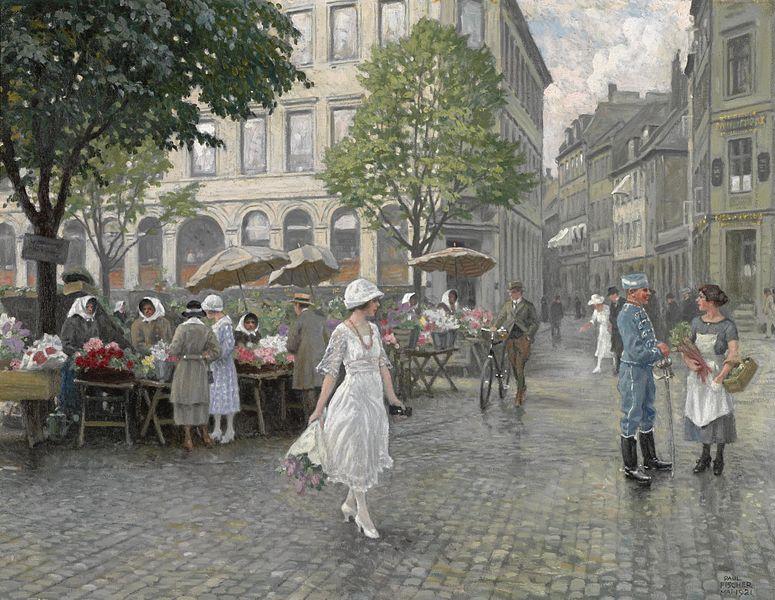 Paul Fischer (1860-1934) - Højbro Plads, København (1921)