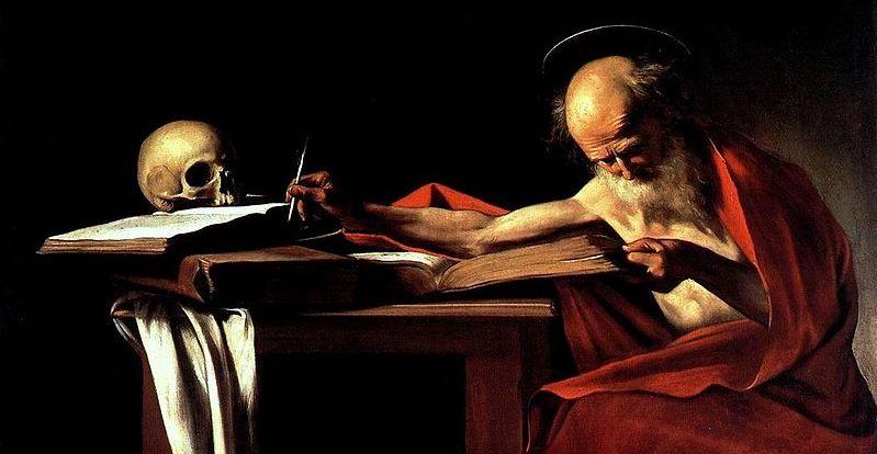Översättarmöda. Caravaggios bild av bibelöversättaren Sankt Hieronymus (här något beskuren)