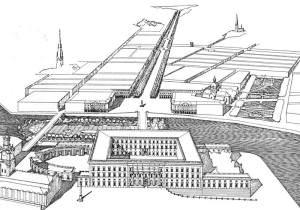 Förslag till breddning av Sveavägen enligt Lindhagenplanen