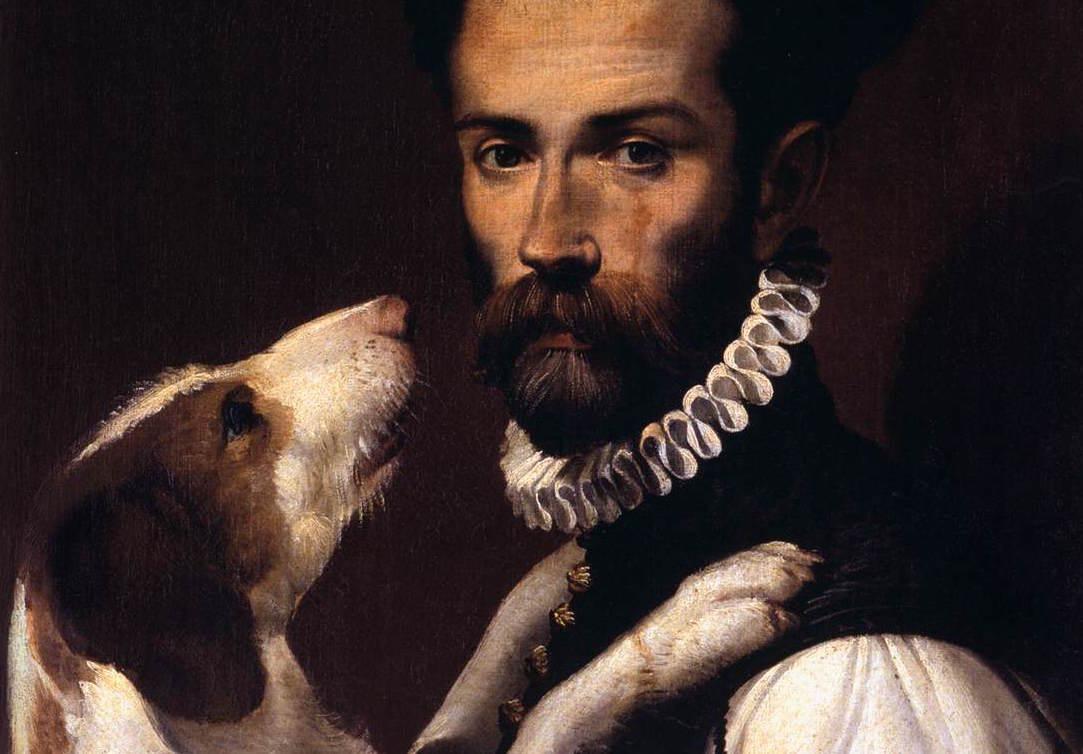 Bartolemeo Passerotti - Porträtt av man med hund