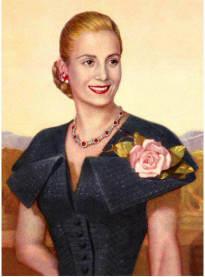 Dåtida officiellt porträtt av Eva Peron