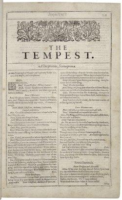 Första sidan av The Tempest från 1623