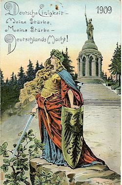 """Vykort från 1909 """"Deutsche Einigkeit, meine Stärke - meine Stärke, Deutschlands Macht!"""" Texten finns ingraverad på Herrmanns svärd"""