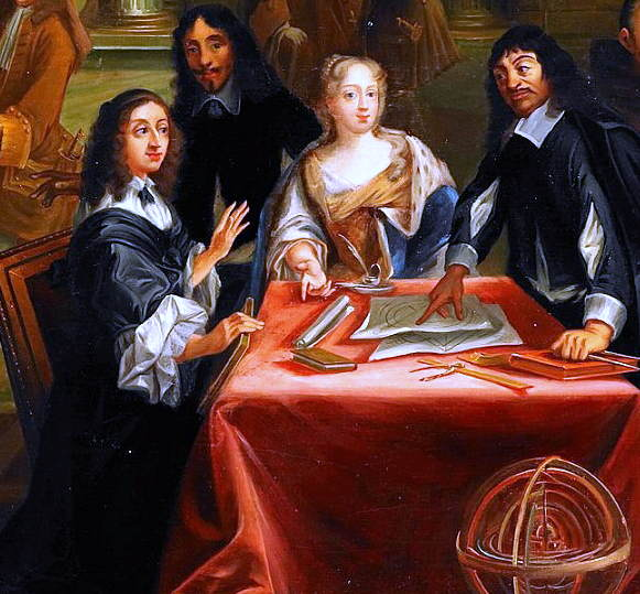 Descartes (till höger) i samtal med drottning Kristina