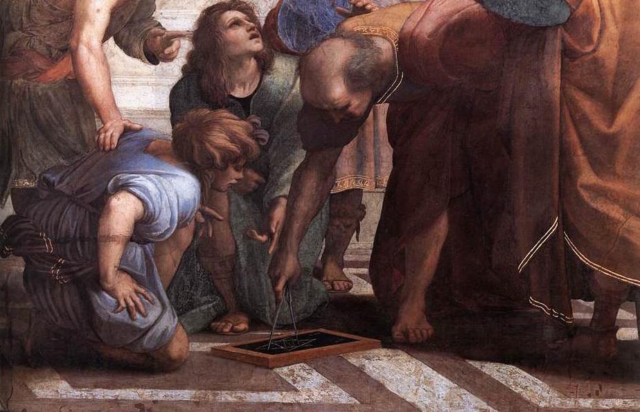 Rafael - Detalj från Skolan i Aten.  Euklides (?) med passaren (WIkipedia)