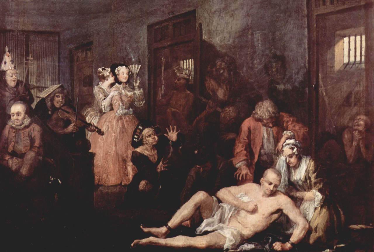 William Hogarth - The rake at Bedlam från början av 1730-talet (Wikicommons)