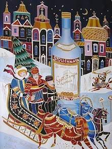 Rysslandsbilder som tavlor på en utställning