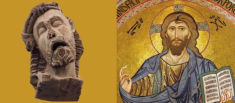 Den lidande Kristus och Kristus Pantokrator -  väst och öst. Också EUs gräns? (bilder Wikipedia)