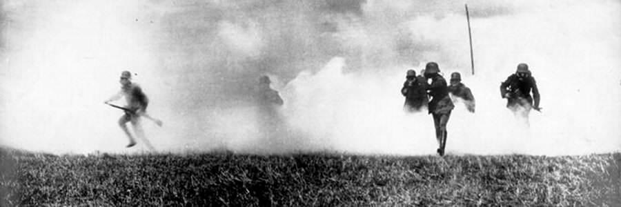 Tyska soldater i Flandern i gasangrepp