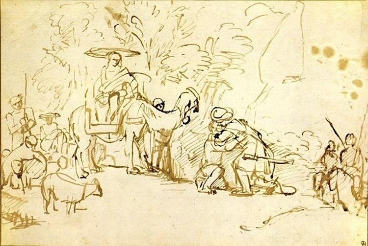 """Rembrandt - Jacob och Esau försonas. """"Men Esau skyndade emot honom och tog honom i famn. Han föll honom om halsen och kysste honom. Och de grät"""""""