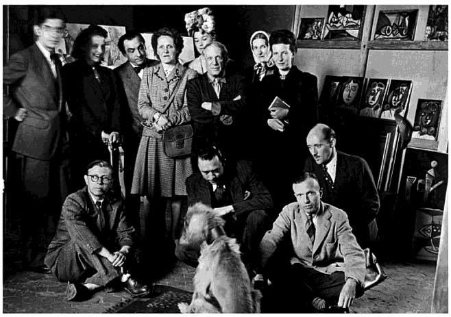 """1941 - Sartre, Camus, Simone de Beauvoir mfl med Picasso som skrivit pjäsen """"Åtrån fångad i svansen"""""""