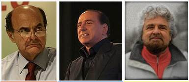 Bersani, Berlusconi och Grillo